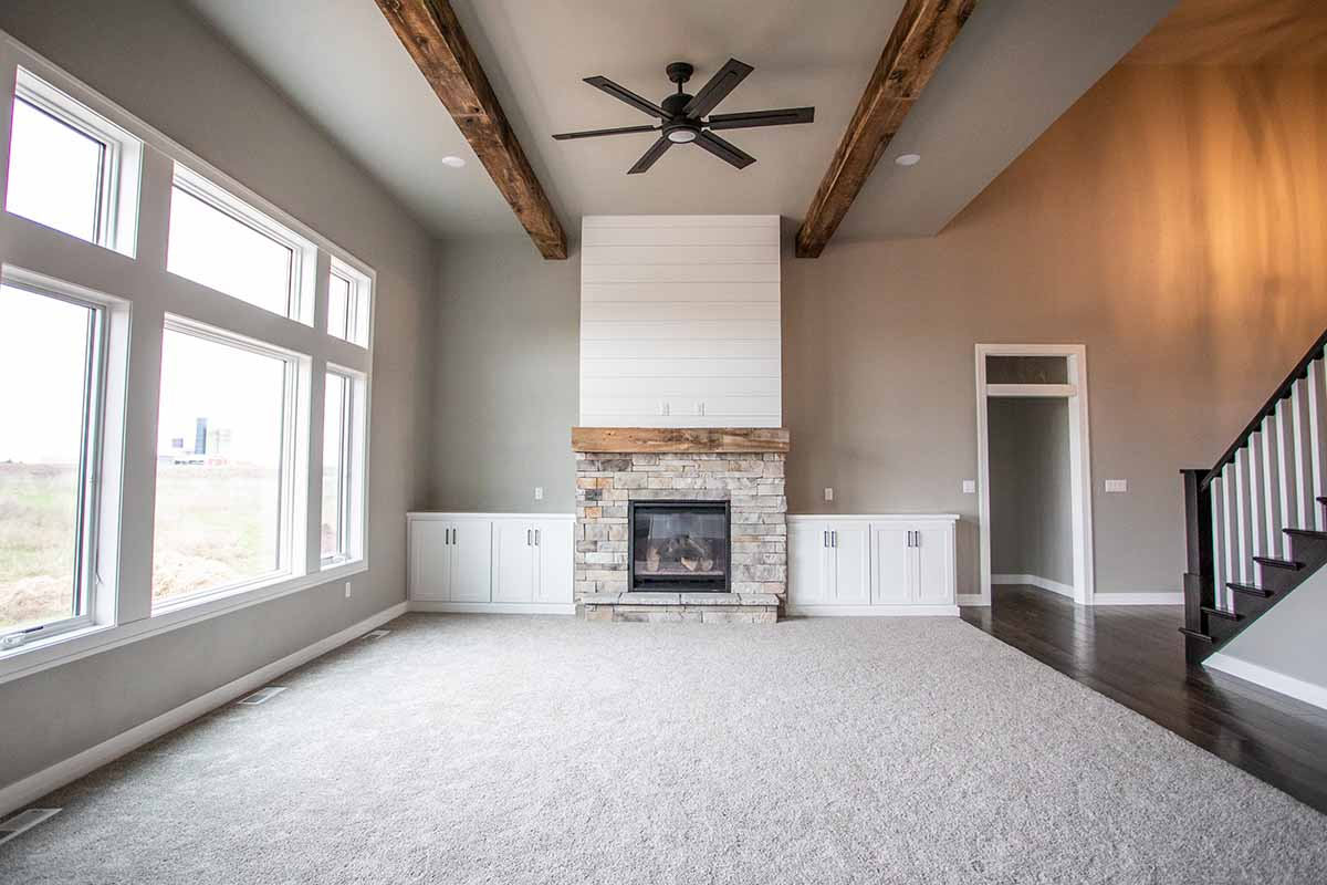 custom living room and custom built fireplace in Green Bay, WI by LeMense Quality Homes, Inc.